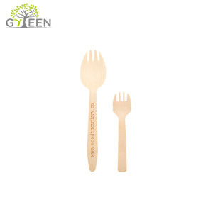 Spork de madera desechable biodegradable ecológico