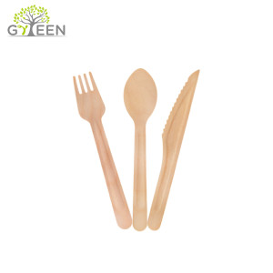 Eco-Friendly Disposable Wooden Cutlery Set with Raised Handle-160mm