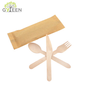 Eco-Friendly Disposable Wooden Tableware with Paper Sack