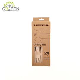 Vajilla de madera desechable ecológica con caja de papel