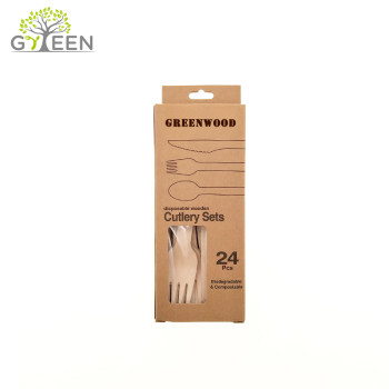 Eco-Friendly Disposable Wooden Tableware with Paper Box