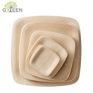 Assiette en bambou carré jetable écologique