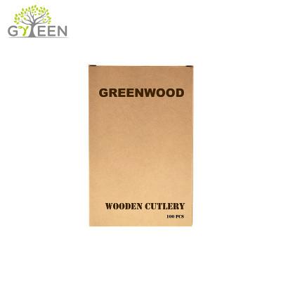 Umweltfreundliches Einweg-Holzbesteck mit Papierbox (100 Stück)