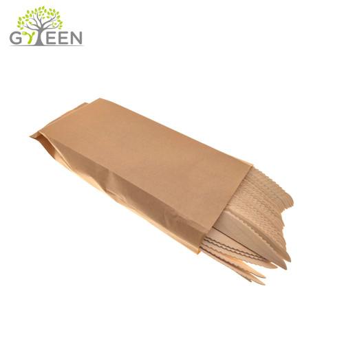 Umweltfreundliche Einweg-Holzbesteck mit Papiertüte oder Box (100 Stück)