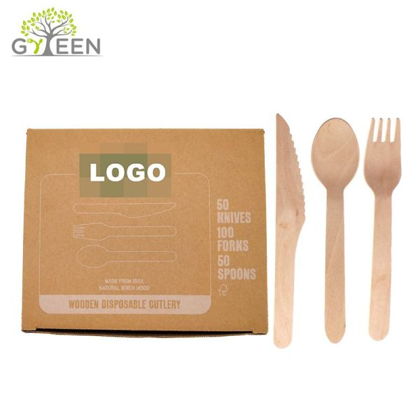 Eco-Friendly Disposable Wooden Cutlery with Paper Box -300pcs