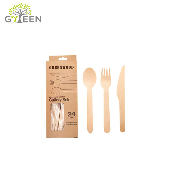 Eco-Friendly Disposable Wooden Cutlery with Paper Box -24pcs