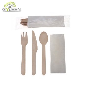 Eco-Friendly Disposable Wooden Cutlery with OPP Bag