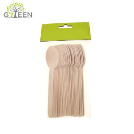 Couverts en bois jetables écologiques avec sac d'OPP ou de PLA