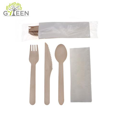 Cubiertos de madera desechables y ecológicos con OPP o bolsa de PLA