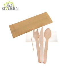 Экологичные одноразовые деревянные столовые приборы с бумажным пакетом