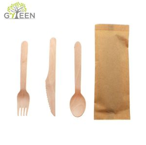 Eco-Friendly Disposable Wooden Cutlery with Paper Bag