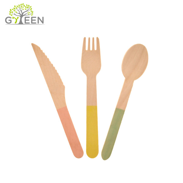 Eco-Friendly Disposable Wooden Cutlery with Color