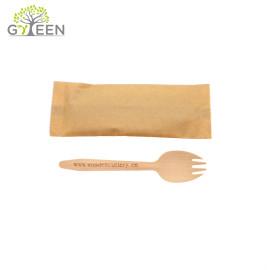 Spork en bois jetable biodégradable qui respecte l'environnement avec le sac en papier