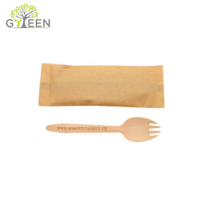 Birch Material Disposable Wooden Spork Wrapped in Single Paper Bag for Party Used