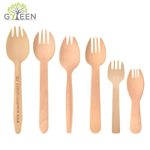 Eco-Friendly Biodegradable Disposable Wooden Spork Made in Chinese Factories