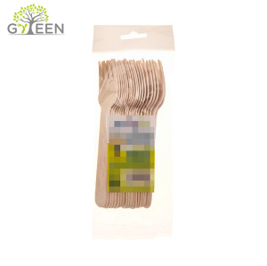 Eco-Friendly Disposable Wooden Cutlery with OPP Retail Bag