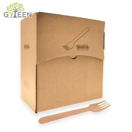 Couverts en bois jetables écologiques avec boîte en papier