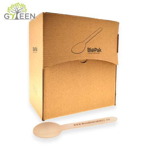 Umweltfreundliches Einweg-Holzbesteck mit Papierbox
