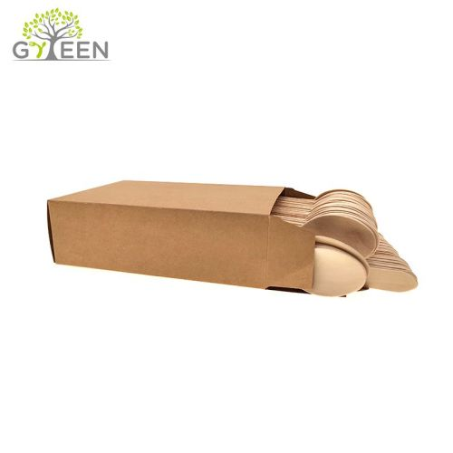 Eco-Friendly Disposable Wooden Cutlery with Paper Box -100pcs