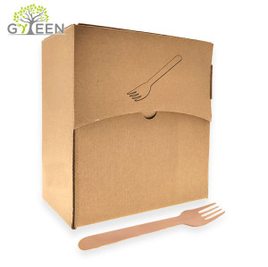 Eco-Friendly Disposable Wooden Cutlery with Paper Box -400pcs