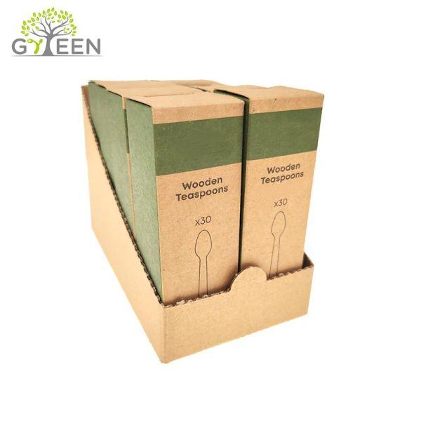 Экологичные одноразовые деревянные столовые приборы с упаковкой CDU / коробкой SRP