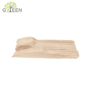 PE film Shrink Packed Disposable Wooden Cutlery Set of 24PCS Assorted