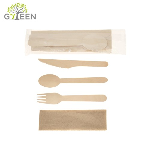 Eco-Friendly Disposable Wooden Cutlery Kit with OPP Wrapped