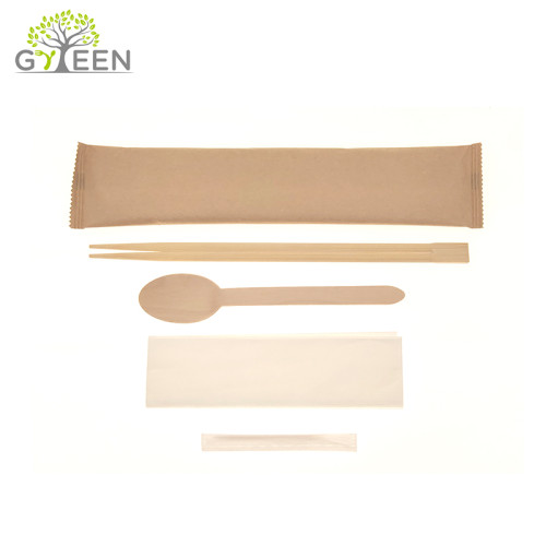Disposable Bamboo Chopsticks adn Wooden Spoon with Paper Bag
