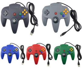 1.8m Wired Classic Controller N64 Retro USB Game Controller Gamepad Joystick for Windows PC / MAC / Raspberry Pi / Sega Genesis / Higan  5 Colors