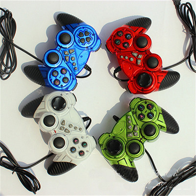 Game Controller, USB Dual Shock Wired Joystick Gamepad for PC Computer Laptop Window 7/10  Four Colors