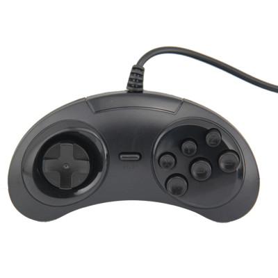 Black-Wired USB 6 Button Joypad Handle Controller for SEGA Genesis MD2 SR