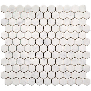 1''x1'' Bianco White Carrara Hexagon Polished Marble Mosaic