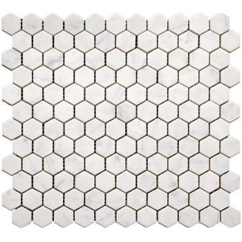 1''x1'' Bianco White Carrara Hexagon Polished Marble Mosaic