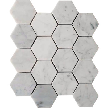 3''x3'' Bianco White Carrara Hexagon Honed Marble Mosaic