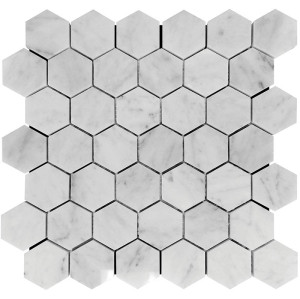 2''x 2'' Bianco White Carrara Hexagon Honed Marble Mosaic