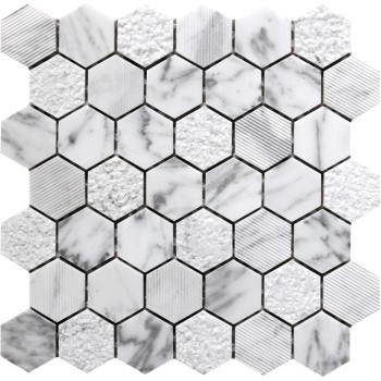 2''x 2''Bianco White Carrara Hexagon Polished Chiselled bush hammered Marble Mosaic