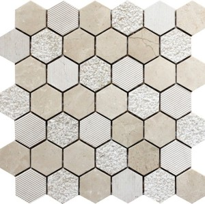 2''x 2''Cream Marfil Polished bush hammered Cheiselled Mix Hexagon Pattern