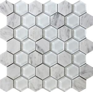 2''x 2 ''Bianco White Carrara and white glass Mix Hexagon Mosaic