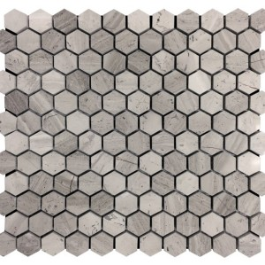 1''x 1'' Wooden Grain Hexagon Honed Marble Mosaic