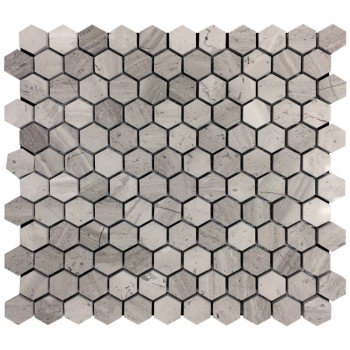 1''x 1'' Wooden Grain Hexagon Honed Marble Mosaic