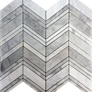 Chevron pattern mesh-mounted mosaic Tile,Bianco Carrara multi- finish