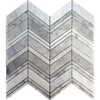Chevron pattern mesh-mounted mosaic Tile,Bianco Carrara multi- finish