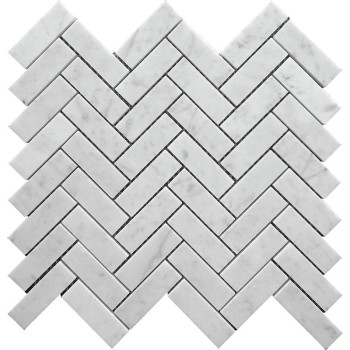 Herringbone Marble Mosaic, 1x3 in  Bianco Carrara,polished