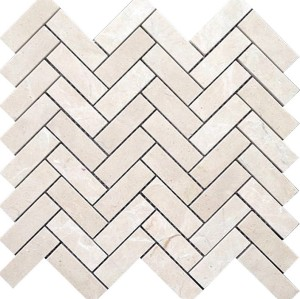 Crema Marfil Herringbone Marble Mosaic Tile,1x3 in. Polished