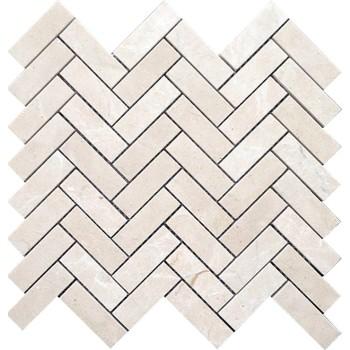 Crema Marfil Herringbone Marble Mosaic Tile,1x3 in. Polished