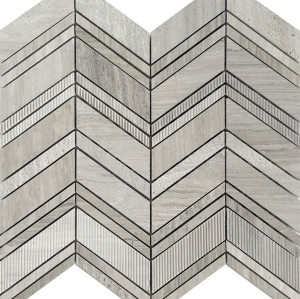 Chevron Pattern, Multi- finish Marble Mosaic Tile, Wooden Grain