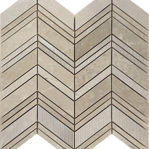Chevron Pattern Marble Mosaic Tile, Crema Marfil
