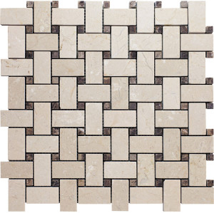 Crema Marfil Basketweave Mosaic with Emperrador Light Dots, Polished
