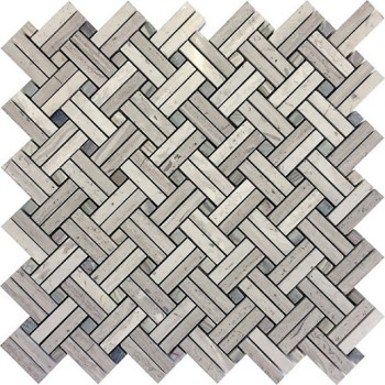 Wooden Gray Basketweave Marble Mosaic Tile, with blue grey Dots