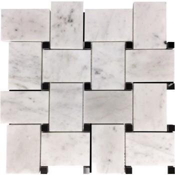 Large Basketweave Mosaic Tile  Bianco Carrara Honed with Black Dots